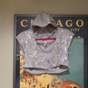 Free People Silver Sequin Cropped Hoodie Top Shrug